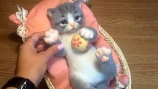 Реалистичный котенок. Сухое валяние из натуральной шерсти