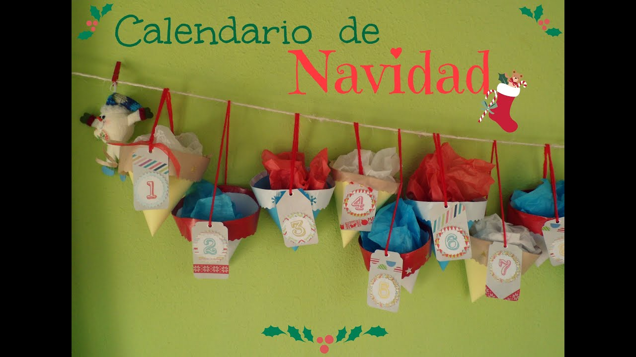 Manualidades calendario de navidad o adviento diy youtube for Calendario manualidades