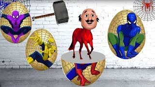 Learn Colors for Kids with Surprise Eggs Motu Patlu Horse Finger Family Song