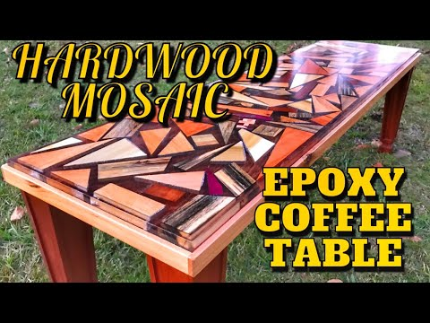 Hardwood Mosaic Epoxy Coffee Table | DIY How to Woodworking