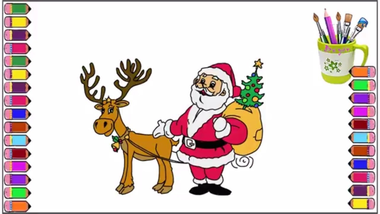 how to draw santa and reindeer learning colors for kids