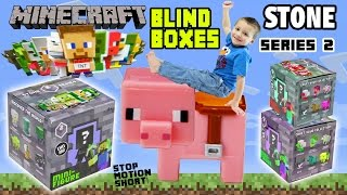 MINECRAFT STONE SERIES 2 TOYS! Blind Boxes Opening + Stop Motion Fun! (Mini-Figures Part 2 w/ Chase)