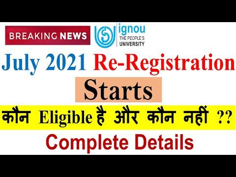 Re-Registration START For JULY 2021 SESSION   New Changes In IGNOU Re-Registration  Complete Details
