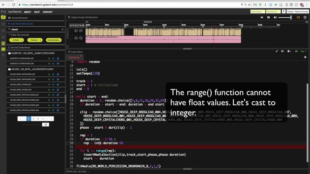 EarSketch live coding demo