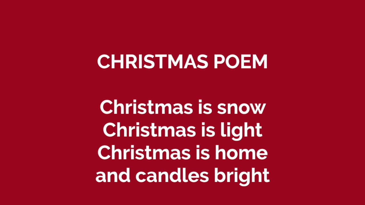 CHRISTMAS POEM (classi seconde) - YouTube