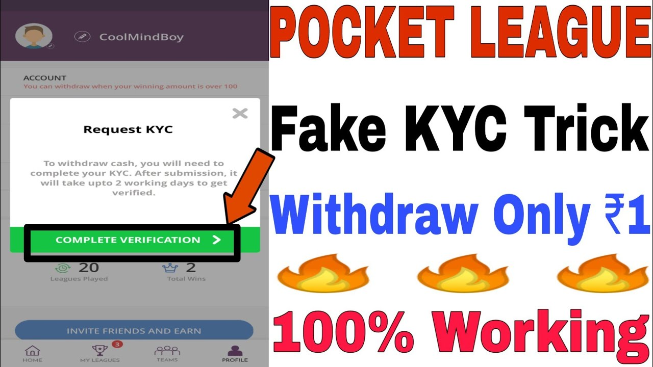 POCKET LEAGUE Fake KYC Trick || Minimum Withdraw Only 1 Rs || 1000% Working  || Mod APK
