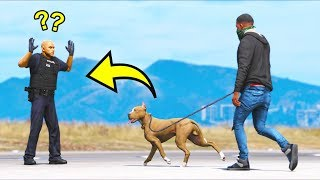 My pit bull attacked a police officer!! (GTA 5 Mods Gameplay)