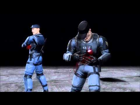 Mortal Kombat 9 Stryker Fatality 1, 2, Stage And Babality (HD)