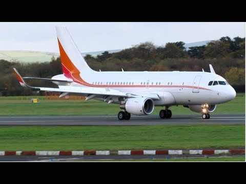 *RARE* SK Telecom Private A319 CJ HL8080 Landing at Manchester from Beijing. 04.11.17!