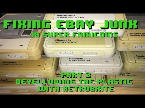 Fixing eBay Junk - 10 Super Famicoms - Part 3  Retrobrite and restoring yellow plastic