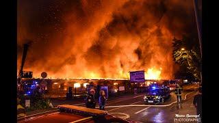 Énorme feu de hangar - Gare du Nord de Mulhouse