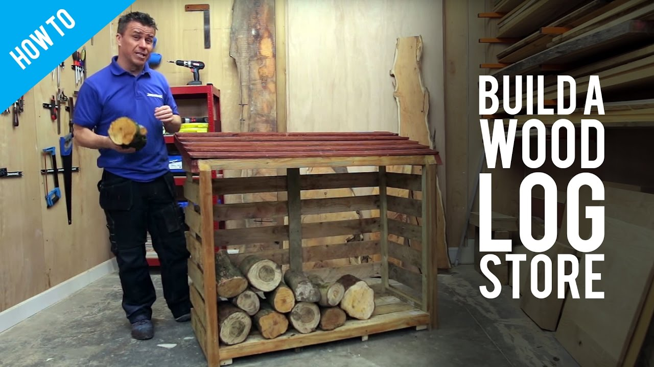 How To Build A Wood Log Store - YouTube
