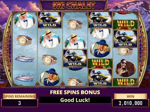 LIVING LARGE Video Slot Casino Game with a SKI CHALET GETAWAY FREE SPIN BONUS