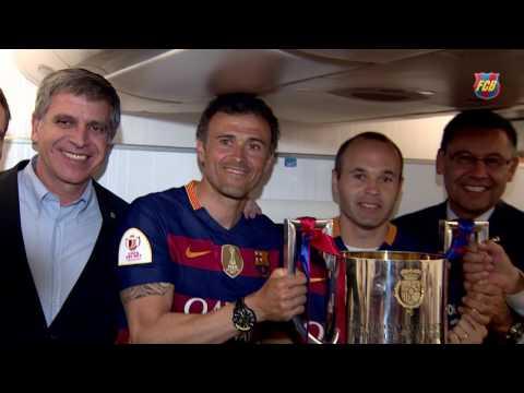 FC Barcelona Copa del Rey Champions 2016: the Champions' trip home