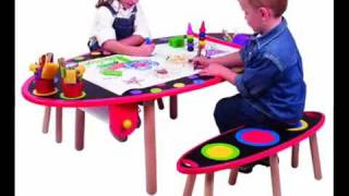 Alex Super Art Table With Paper Roll And Two Benches   Youtube