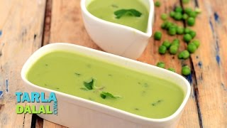 Green Peas and Mint Soup  Minty Pea Soup  Creamy Soup, Recipe in Hindi by Tarla Dalal