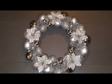 How to make an EASY Christmas/Holiday Ornament Wreath using only Dollarama/Dollar Store decor || DIY