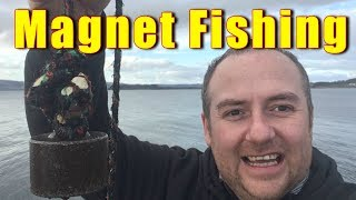 magnet fishing for river treasure off a dam wall tons of finds