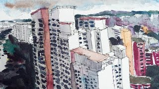 Colouring that Bukit Batok Skyline Sketch (timelapse)