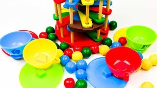Fun Learning with Pounding Ball Drop Tower and Tea Set Teaching Kids Colors