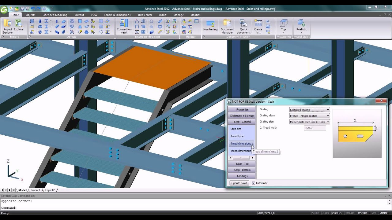 NEW - Advance Steel 2012 - Stairs and railings automatic creation