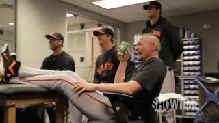 Aubrey's teammates share some laughs and provide their own commentary as they watch the first baseman's appearance on MLB Network's Intentional Talk.
