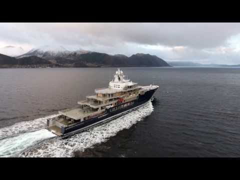 116m Kleven explorer yacht U116 undergoing sea trials