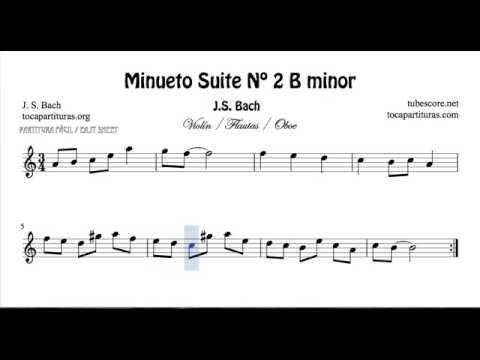 Minueto en La Menor de Bach Partitura fácil de Flauta ...