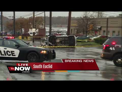 Lyndhurst bank robbery suspects flip car in South Euclid, one suspect found hiding in dumpster