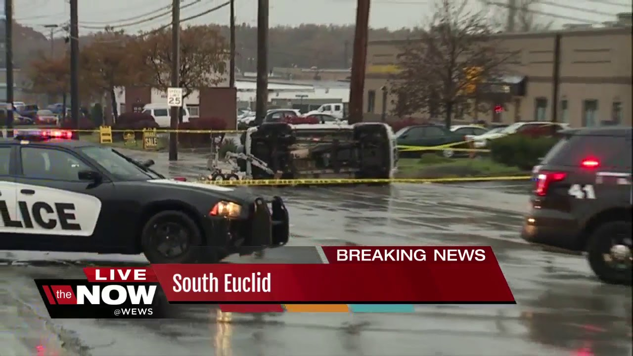 lyndhurst bank robbery suspects flip car in south euclid, one