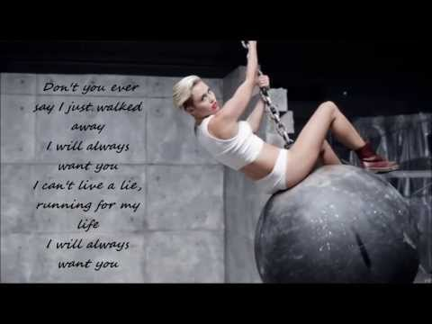 Miley Cyrus - Wrecking Ball ( Lyrics Video ) HD & HQ