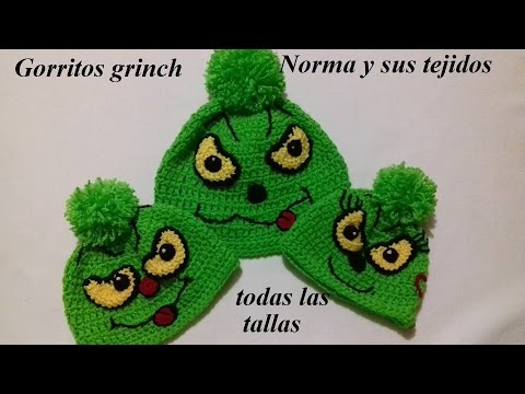 gorritos grinch a crochet todas las tallas