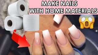 DIY 4 DIFFERENT FAKE NAILS WITH HOME MATERIALS / 5 minutes crafts nail hacks