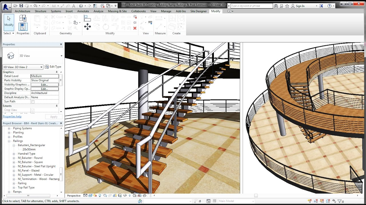 BIM   Revit Stairs Tutorial 01 Curve Staircase, Curve Railings And Modern  Stairs