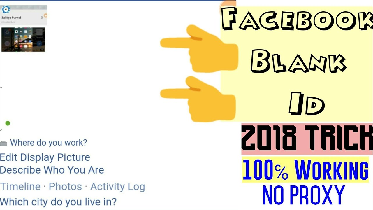 Facebook Invisible Blank Name Account 2018 Trick How To Make
