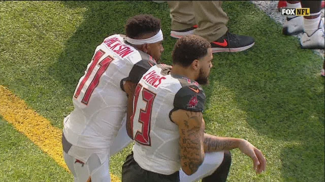 Two Buccaneers Players Kneel During National Anthem Youtube