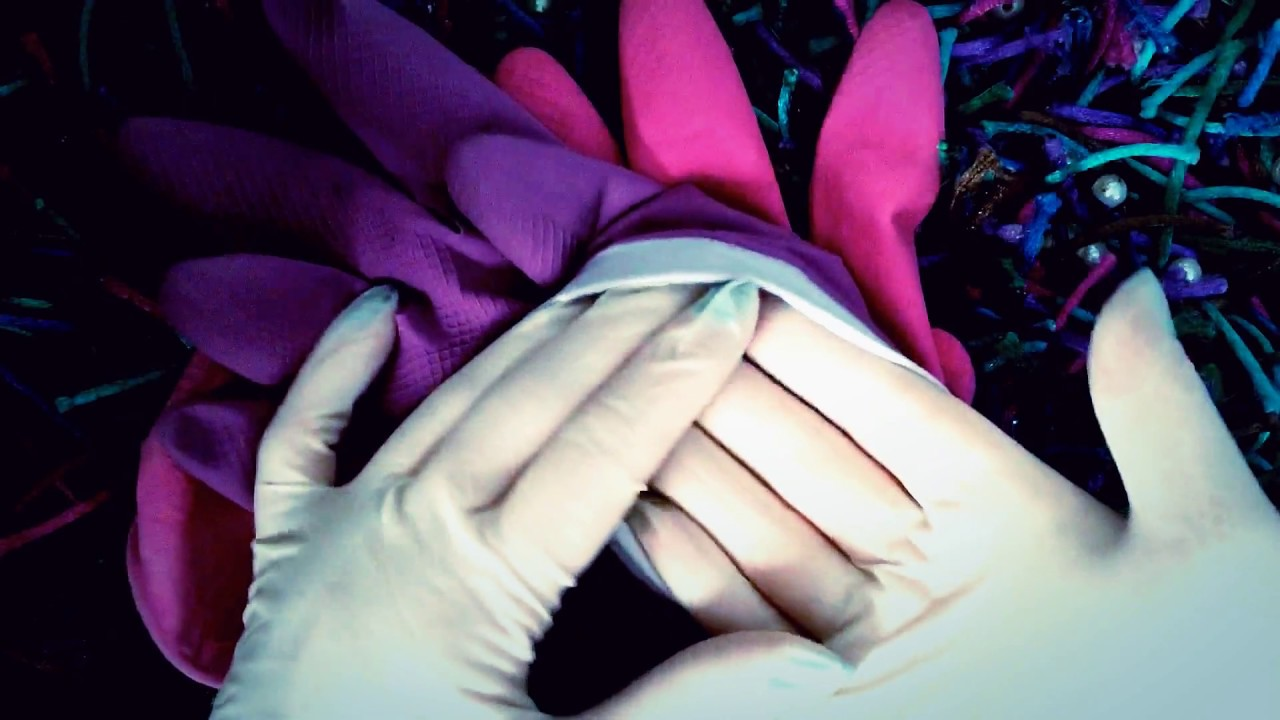 RUBBER GLOVES layer LATEX💜stretching rubber👈 LONG NAILS🎧 [[ASMR ...