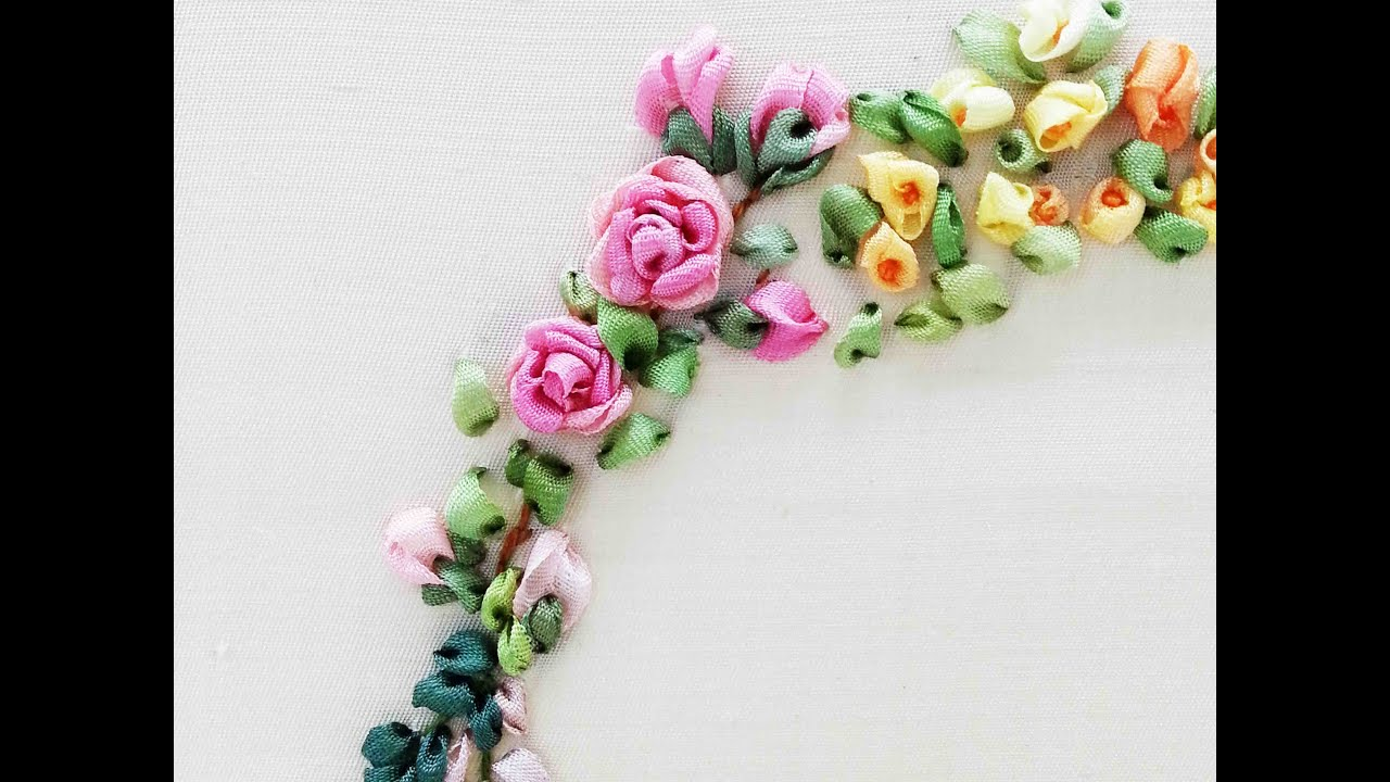 Tour embroidery ribbon garland online tutorial lesson of