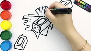 Drawing chocolate bar and colouring,Go and enjoy the delicious chocolate bars with your little buddy