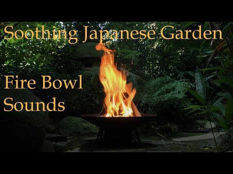 Relaxing Fire Bowl Sounds in Japanese Garden (4K)
