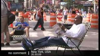 USA - A pedestrian Times Square in New York
