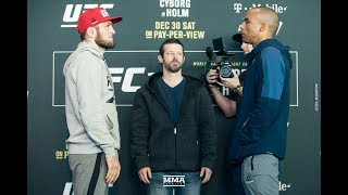 UFC 219: Khabib Nurmagomedov vs. Edson Barboza Media Day Staredown - MMA Fighting