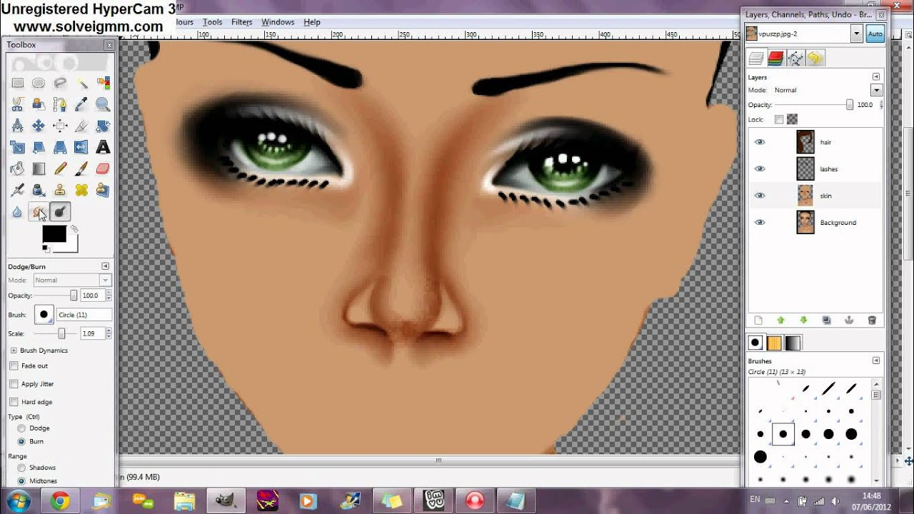 Gimp 2.6 Tutorials Repaint Tutorial Imvu Nose Youtube