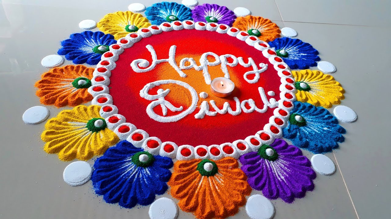 Diwali Rangoli Ideas: Happy Diwali Colourful Rangoli Designs