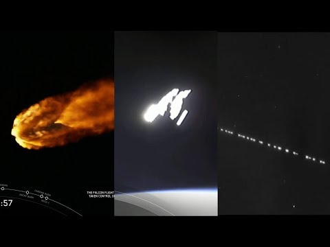 SpaceX Starlink-1 launch + 60 StarLink satellites spotted over Netherlands (5/23/2019)