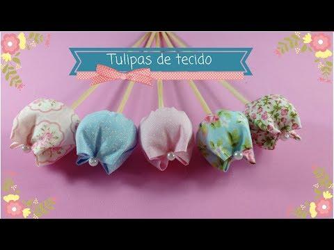 DIY   TULIPA DE TECIDO   FÁCIL DE FAZER   FAÇA E VENDA   Artes Edi e Helô