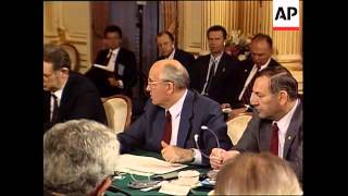 Soviet Union leader Mikhail Gorbachev answers questions from congressional leaders he had invited to