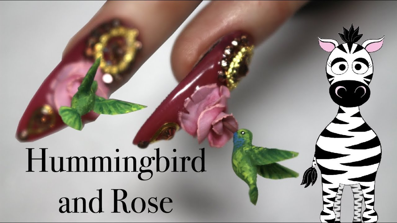 Extreme 3d Hummingbird And Rose Acrylic Nail Art Tutorial