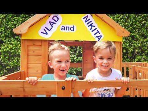Vlad and Nikita Build a Wooden Playhouse