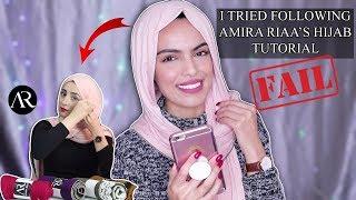 I TRIED FOLLOWING AMIRA RIAA'S HIJAB TUTORIAL ( FAIL !!)   جربت إتباع فديوأميرة ريا